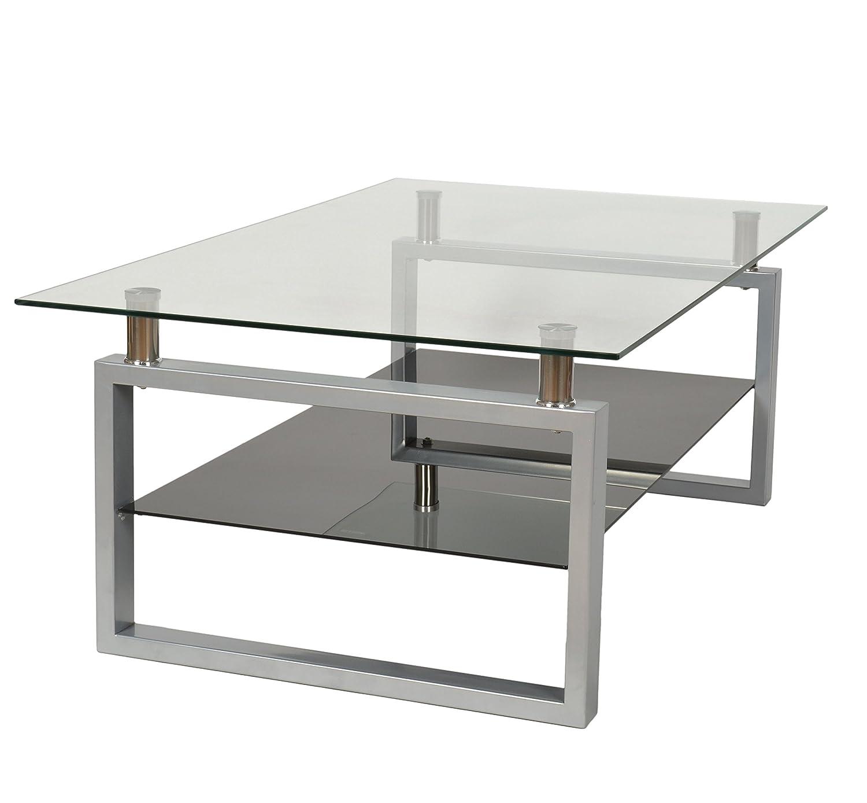 Ts Ideen Design Hartglas Wohnzimmer Couch Glastisch Glas Beistell Tisch Edelstahl Hochglanz Ablage Schwarz 8 Mm ESG Sicherheitsglas 109 X 69 Cm Amazonde