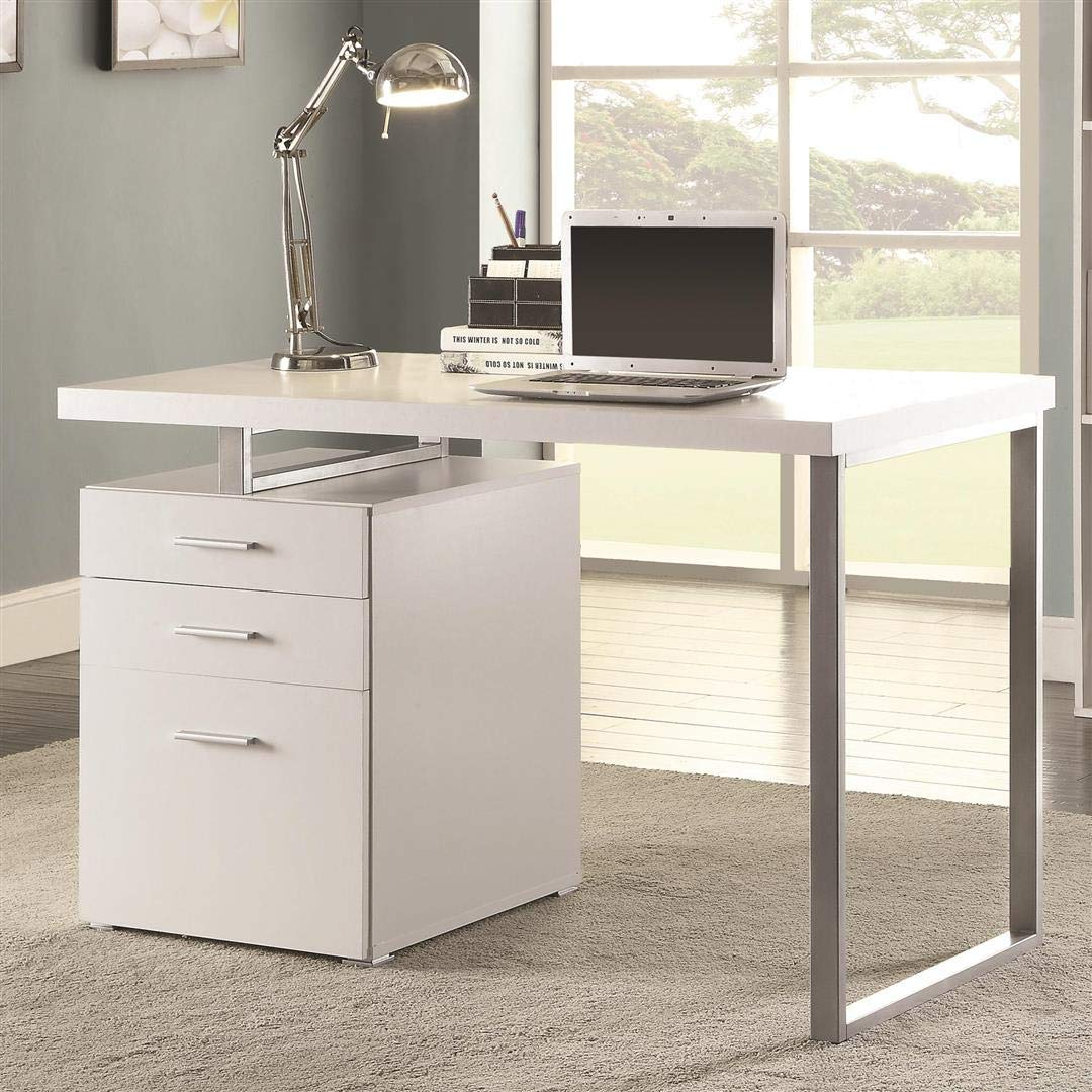 Amazon com writing desk with file drawer and reversible set up white and silver kitchen dining