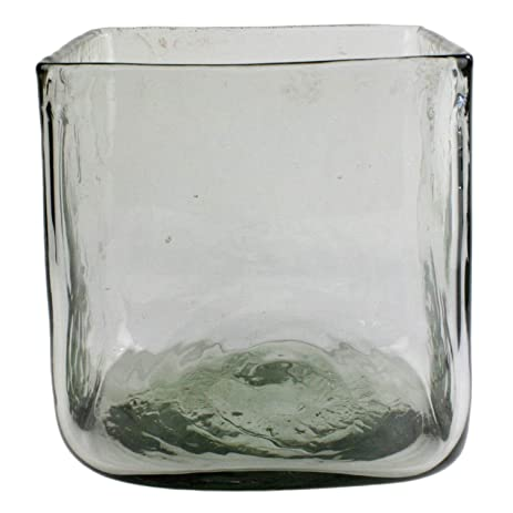 Amazon Large Wide Recycled Glass Square Vase Hurricane Candle