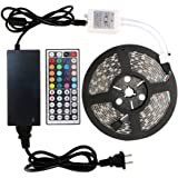 WenTop Led Strip Lights Kit DC12V Power Supply Waterproof SMD 5050 16.4 Ft (5M) 300leds RGB 60leds/m with 44key Ir Remote Controller for Kicthen Bedroom Sitting Room and Outdoor