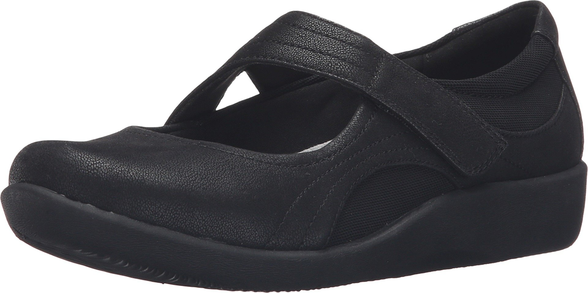 Clarks Women's CloudSteppers Sillian Bella Mary Jane Flat, Black Synthetic, 8 M US