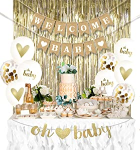 AMABELLA Neutral Baby Shower Decorations for Boy or Girl Kit, Rustic Welcome Baby Banner in Burlap, Gold Metallic Curtain, Gold and White Gender Reveal Baby Shower Decor Kit, Gold and White Balloons