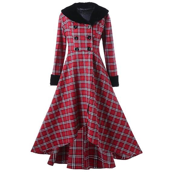 Women Winter Double Breasted Plaid Swing Coat Plus Size Long Jacket Casual Parka