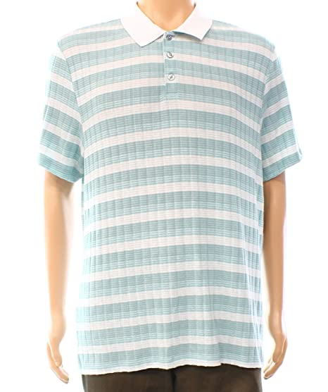 f523c1c0cf Alfani White Tide Mens Large Striped Ribbed Polo Shirt Green L at Amazon  Men's Clothing store: