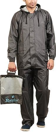 premium selection buying now compare price RAINBOW Men's Hooded Rainwear with Bag (RF006-Grey, Grey ...