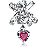 925 Sterling Silver Bowknot Love Heart Dangle Pendant Charm FQ0008