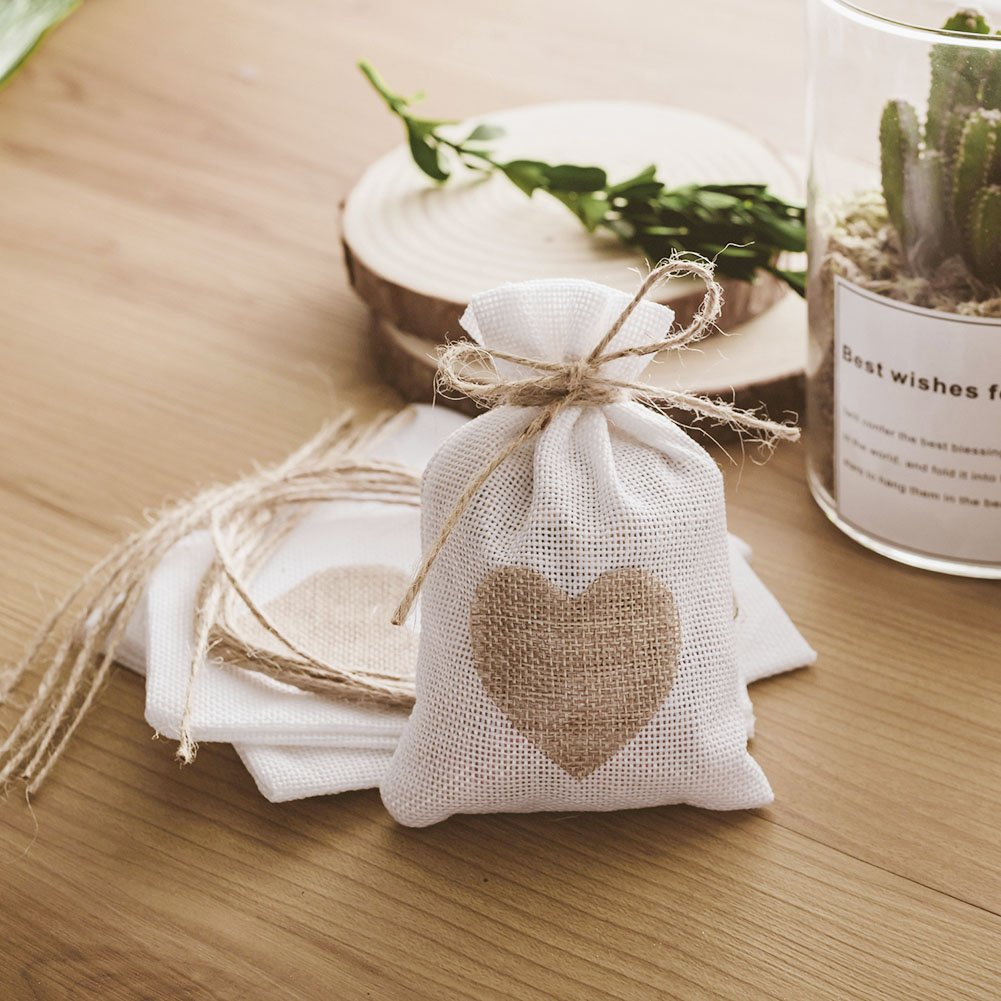 Amazon Handrong 30pcs Burlap Bags Gift Pouches Heart Small