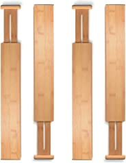 Bambusi Bamboo Drawer Dividers Kitchen Organizer - Spring Adjustable & Expandable - Best for Kitchen, Dresser, Bedroom, Baby