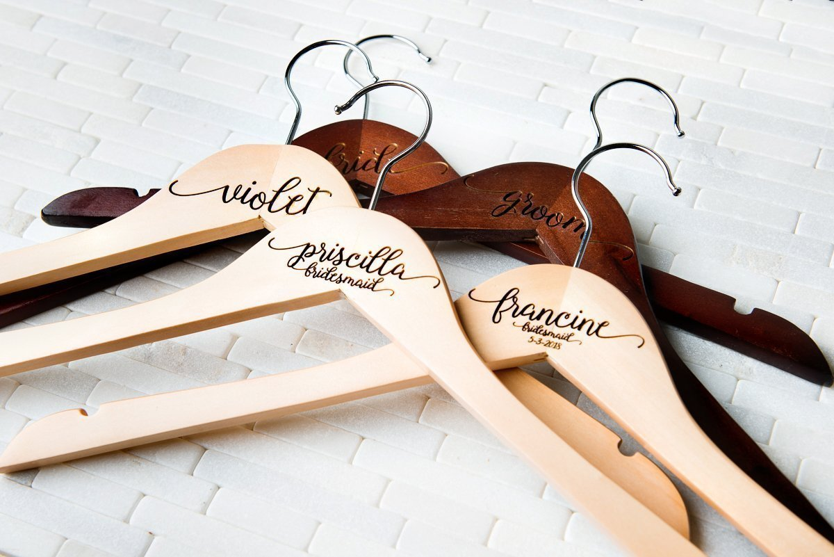 8 Wedding Dress Hangers Personalized Calligraphy Bride Bridesmaid Gift for the Couple Matron Maid of Honor Engraved Wood Quick Ship