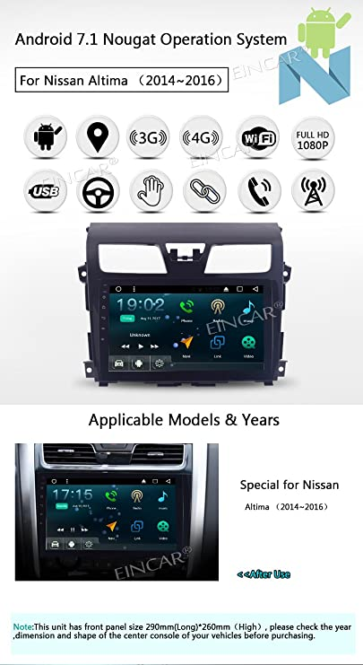 Actualizar jugador Versión Quad Core Android 7.1 Doble Din especial del coche para Nissan Altima (2014-2016) Navegación GPS con gran pantalla táctil ...