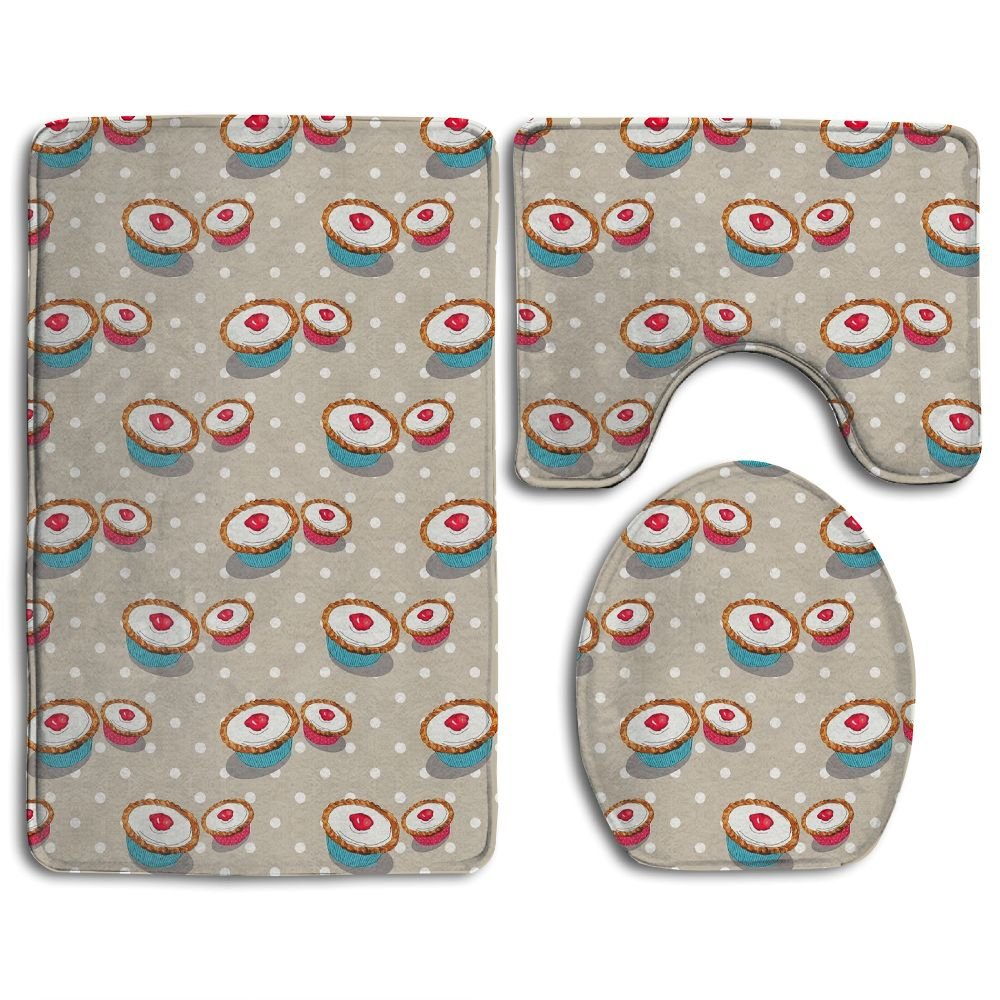 WUGOU Bathroom Rugs Light Shadow Set Of 3 Soft Shaggy Traditional Non Slip Shower Mat Toilet Floor Rug And U-shaped Lid Toilet Floor