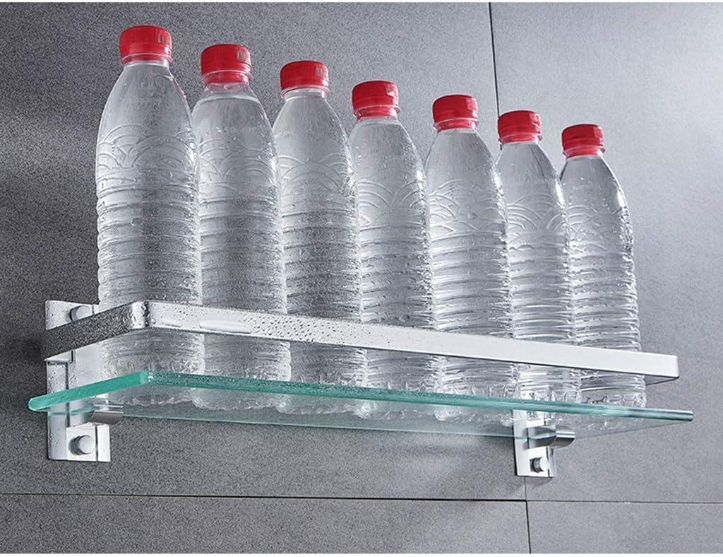 D-JIAJU Badezimmer Regal Einscheibensicherheitsglas 8 Mm Glasregale Bad Brause-Wand-Caddy Storage Rack Raum-Aluminiumschiene Organisatorhalter Size : 40cm//15.7in