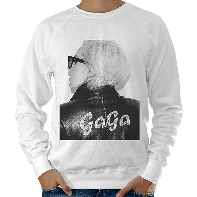 Sudadera Ligera para Hombre, Diseño de Lady Gaga Chaqueta de Cuero Nombre-Blanco: Amazon.es: Ropa y accesorios