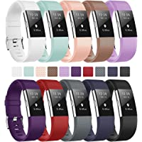 Fundro For Fitbit Charge 2 Strap Band, Adjustable Replacement Silicone Sport Accessory Wristband for Fitbit Charge 2 Women Men Small Large, 15 Colours