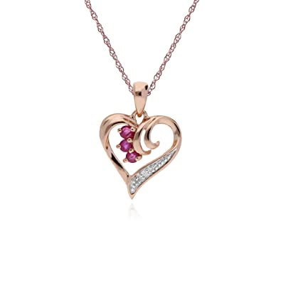 Gemondo Ruby Necklace, 9ct Rose Gold 0.13ct Ruby & Diamond Heart Pendant on 45cm Chain