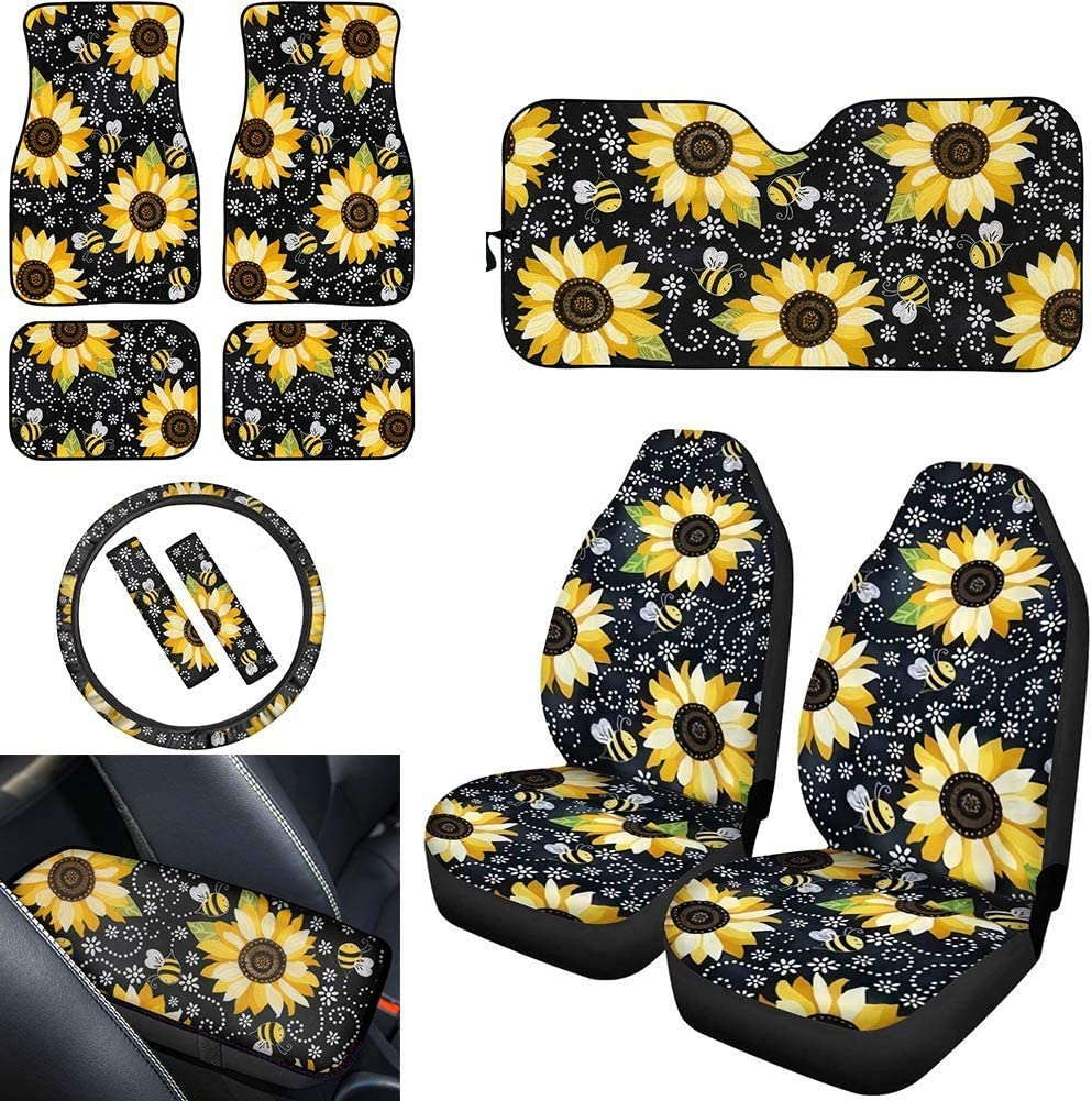 ,Car Floor Mat Windshield Sunshade ,Streering Wheel Cover,Center Console Cover Cushion Pad,Seat Belt Cover 4pcs 2pc BIGCARJOB Sunflower Car Accessiores 11pcs Full Set,Front Bucket Seat Covers 2pc
