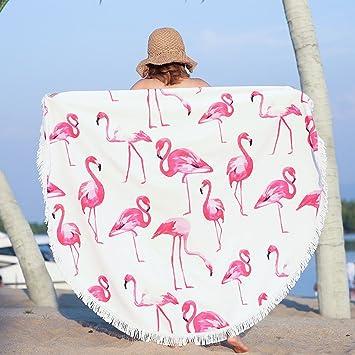 Toalla de playa redonda - Flamenco gruesa y suave Manta de picnic hippie Toalla de baño Yoga Mat: Amazon.es: Jardín