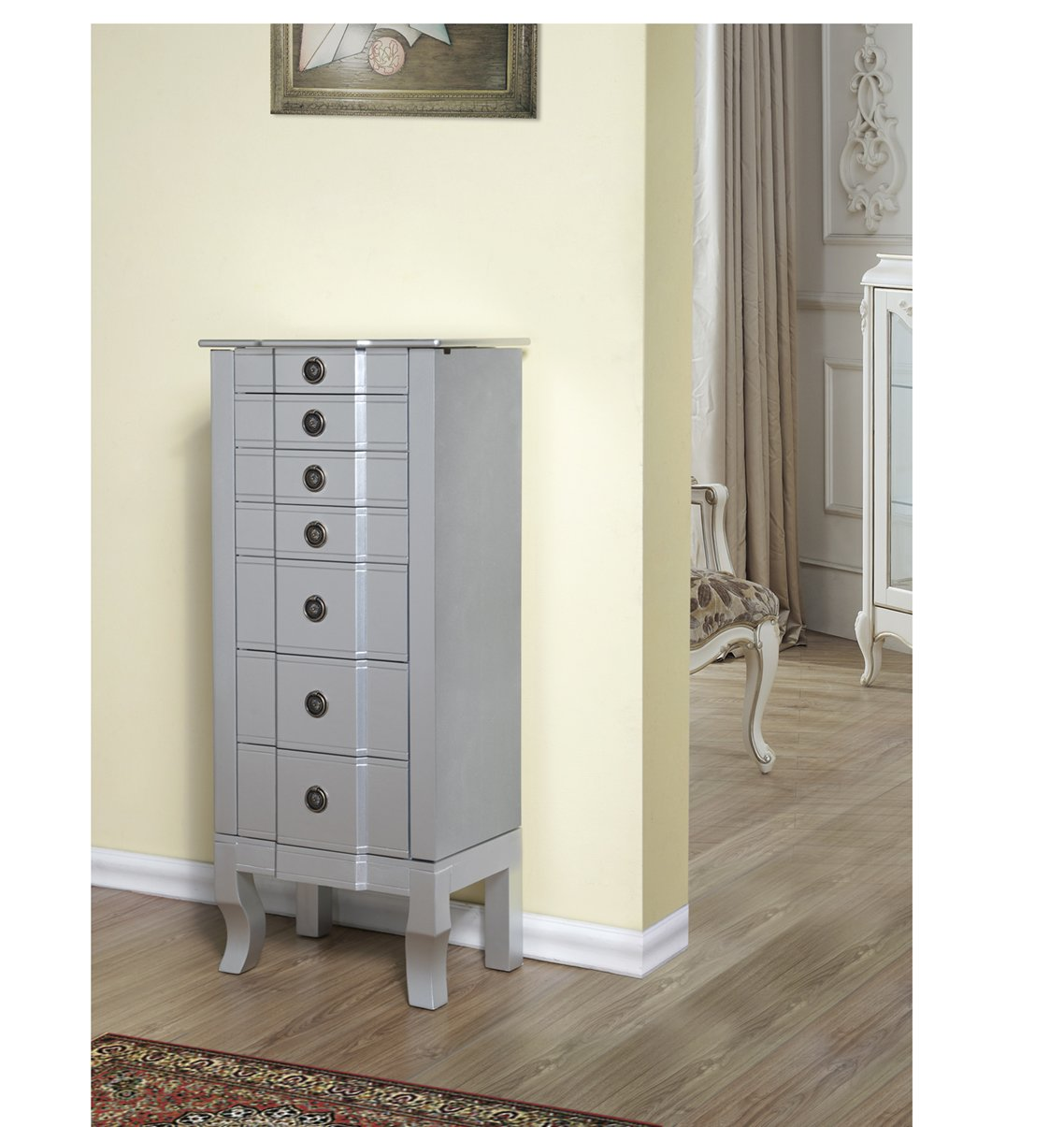 CTE 6 Drawers Jewelry Armoire - Silver