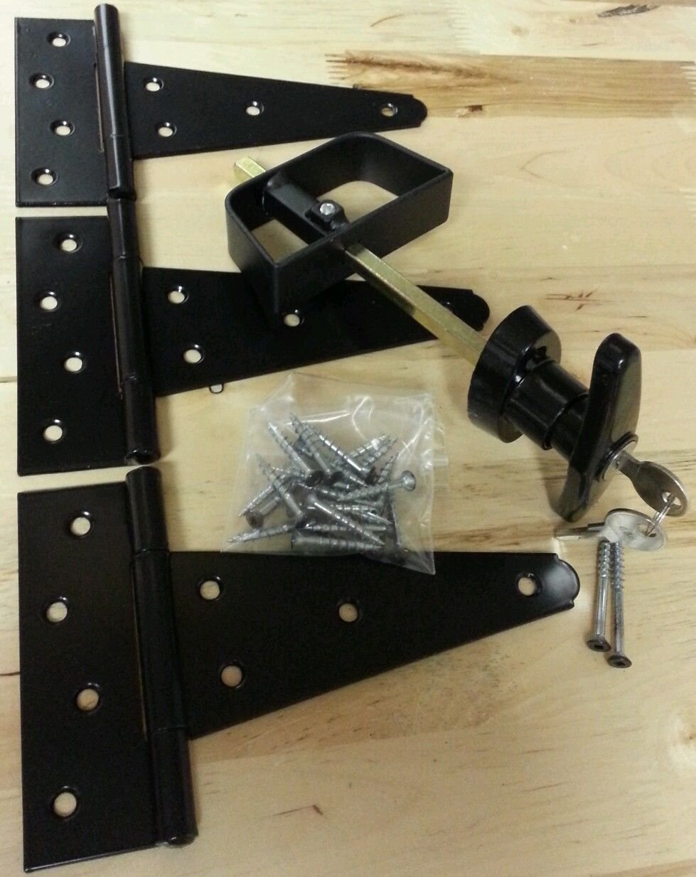 (GARRAG) Black Door Hardware Kit -T handle lock, 6'' T hinges, Screws (For Shed, Gate, Playhouse)
