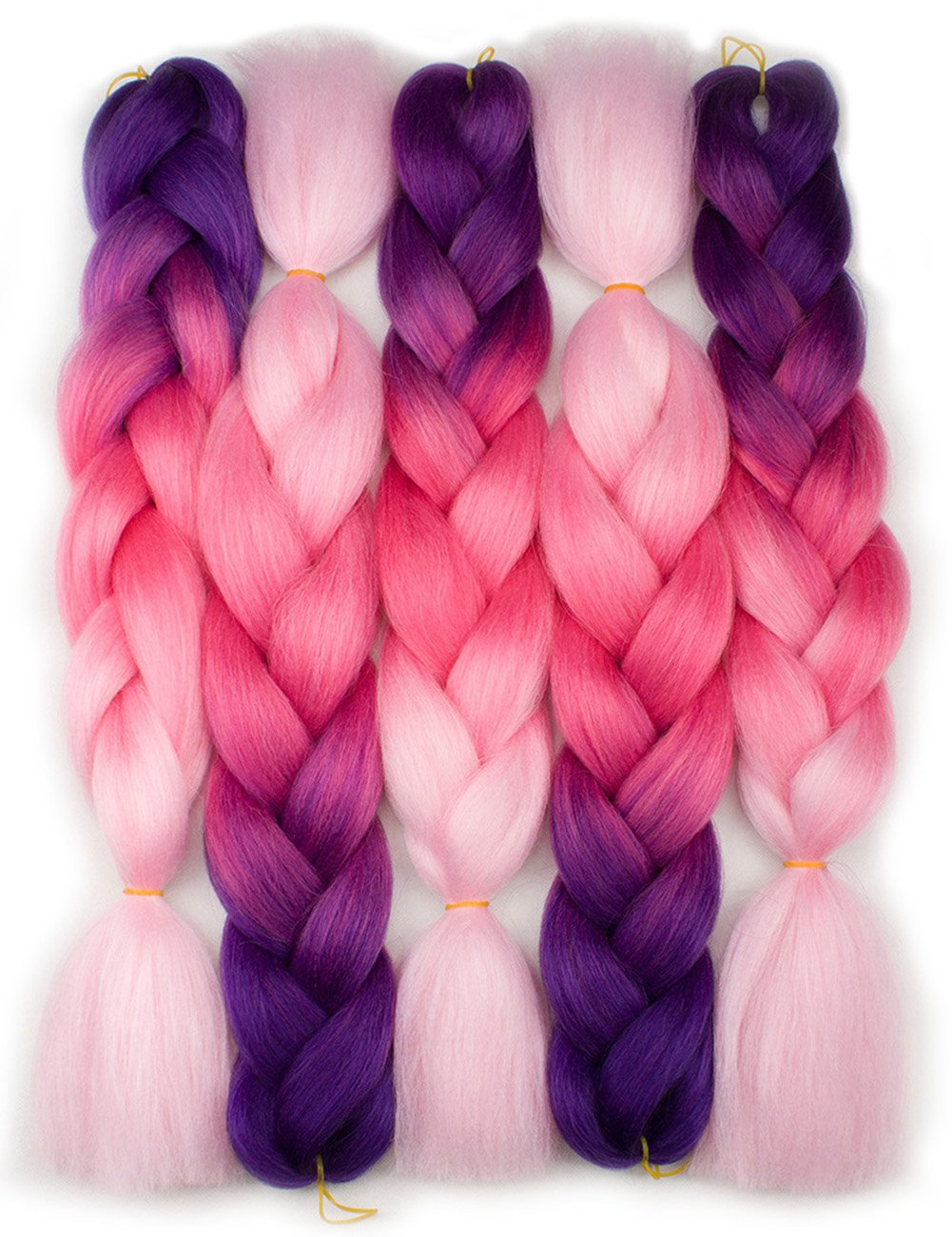 Forevery Braiding Hair Kanekalon Synthetic Ombre Hair Braiding Extensions 5Pcs High Temperature Fiber Crochet Twist Braids Purple to Magenta to Pink (24'', 10#) by Forevery