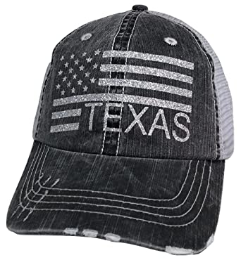Loaded Lids Women s Texas with American Flag Distressed Bling Baseball Cap  (Grey Silver) 96f00d55d9f