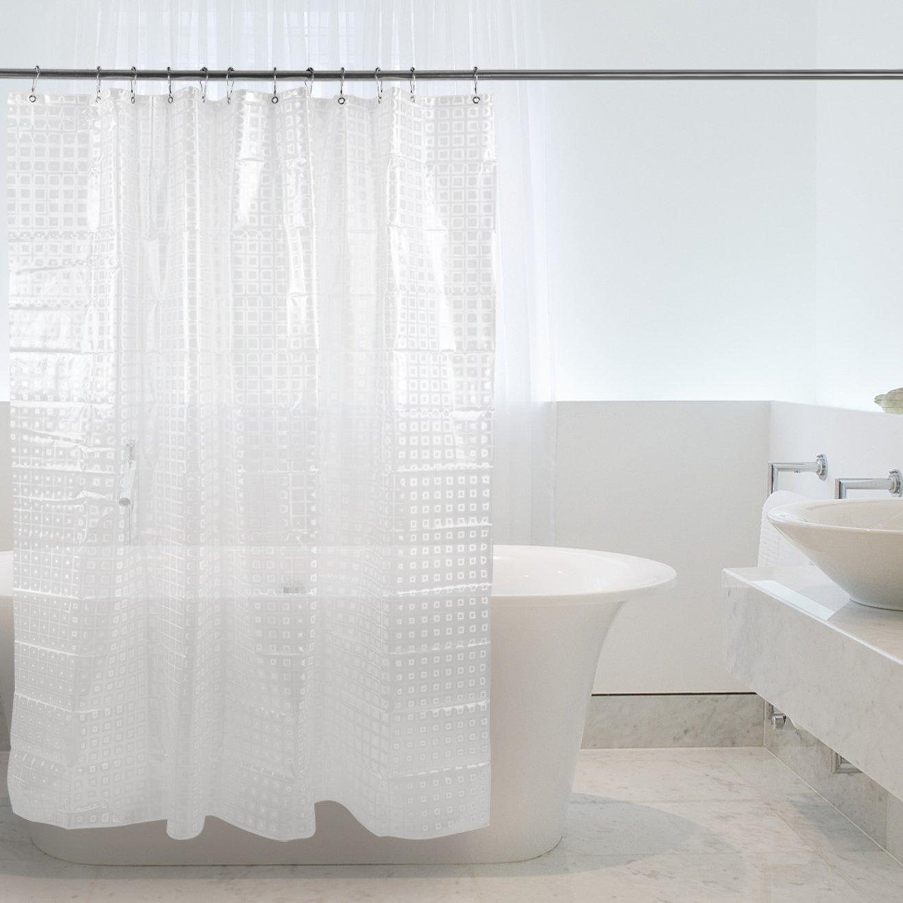 Halbtransparent Duschvorhang / Duschvorhänge transparent / Duschvorhänge , Magiclux Tech Schimmelresistent Anti-Bakteriell Duschvorhänge Wasserdicht 100% EVA mit 12 Duschvorhangringe für Badezimmer, 180 x 180cm (3D Würfel)