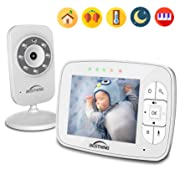 Digital Baby Monitor with 3.5 Inch Color Screen, Smart LED Indicator Light, Night Vision, Soothing Lullabies, Two Way Audio and Temperature Display
