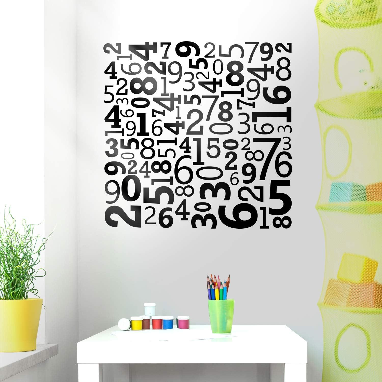 "Vinyl Wall Art Decal - Set of Numbers - 40"" x 40"" - Educational Kids Toddlers Teens Learning Home Apartment Bedroom Playroom Classroom Homeschool Preschool Kindergarten Decor (40"" x 40"", Black)"