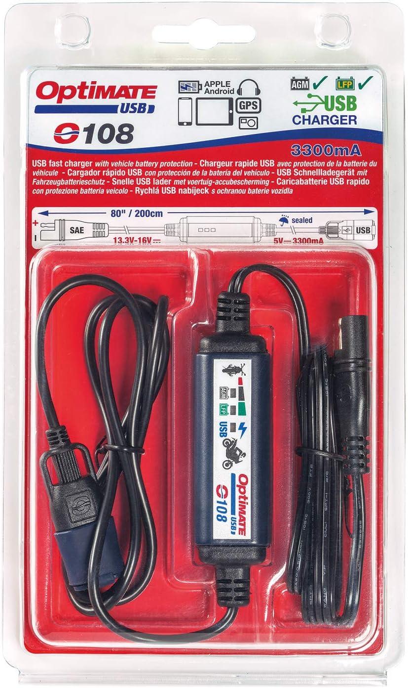 Tecmate Optimate Usb O 108 3300ma Usb Ladegerät Mit Automatischer Abschaltung Zum Schutz Der Batterie Witterungsbeständig Sae Ein Und Ausgangskabel Auto