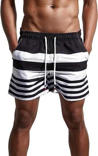 ChinFun Men's Swimsuit Swim Trunks Watershort Swimwear Stripes Board Shorts Bathing Suits Side Pockets