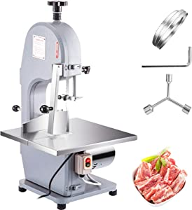 VBENLEM 110V Commercial Meat Bone Machine 850W Heavy Duty Frozen Beef Cutter 210mm Wheel, Butcher Bandsaw Thickness Adjustable, with 2 Saw Blades Perfect for Cutting Fish Pig's Hoof, Sliver