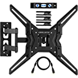 JARLINK VM443A TV Wall Mount Full Motion Bracket Most 26-55 Inch Articulating Arm Tilting Swivel LED LCD Plasma Flat Screen Monitor up to VESA 400x400mm 60 lbs, HDMI Cable & Cable Ties