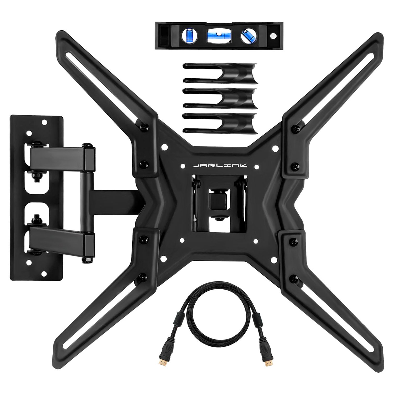 Jarlink VM443A TV Wall Mount Full Motion Bracket for Most 26-55 Inch with Articulating Arm Tilting Swivel LED LCD Plasma Flat Screen Monitor up to VESA 400x400mm 60 lbs, HDMI Cable & Cable Ties