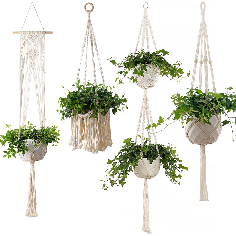 4-Piece Macrame Plant Hangers – Hanging Flower Pot Planter Holder for Indoor Plants, Boho Bohemian Home Decor