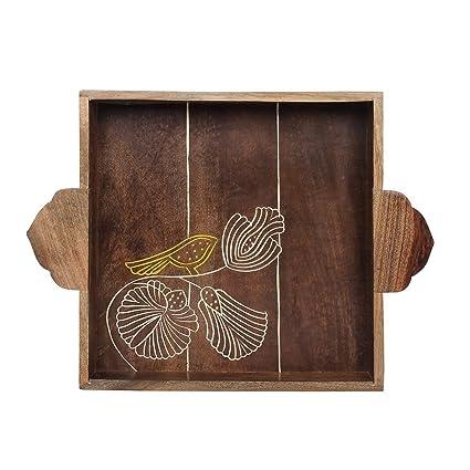 Bandeja para servir - Plato decorativo de madera - Diseño de pájaro hecho a mano con