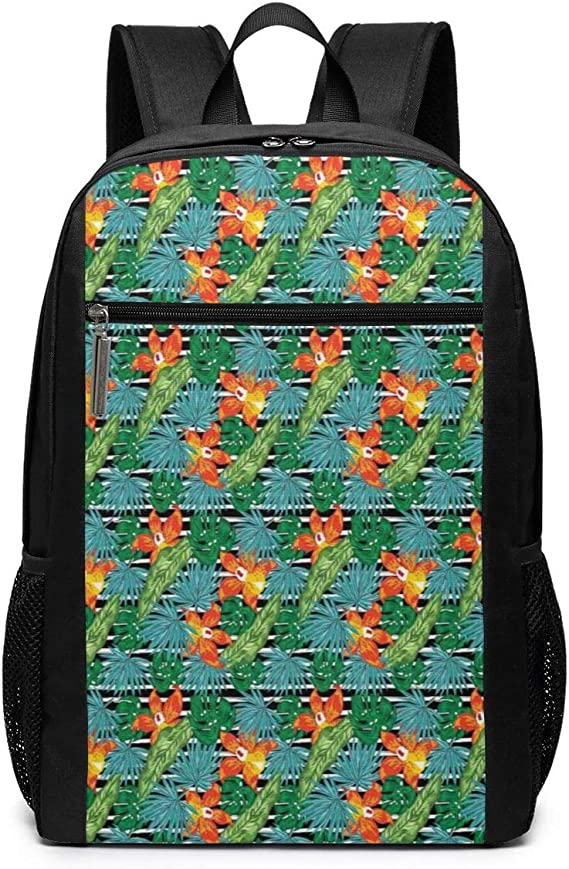 Backpack Bag Seamless Pattern With Tropical Leaves And Orchid Vector Backpack For Women Waterproof Casual Daypacks For Young Girls