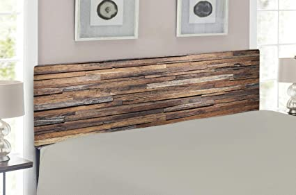 Lunarable Wooden Headboard for King Size Bed, Old Ruined Rustic Planks in  Horizontal Order Construction Country House Picture, Upholstered Decorative  ...