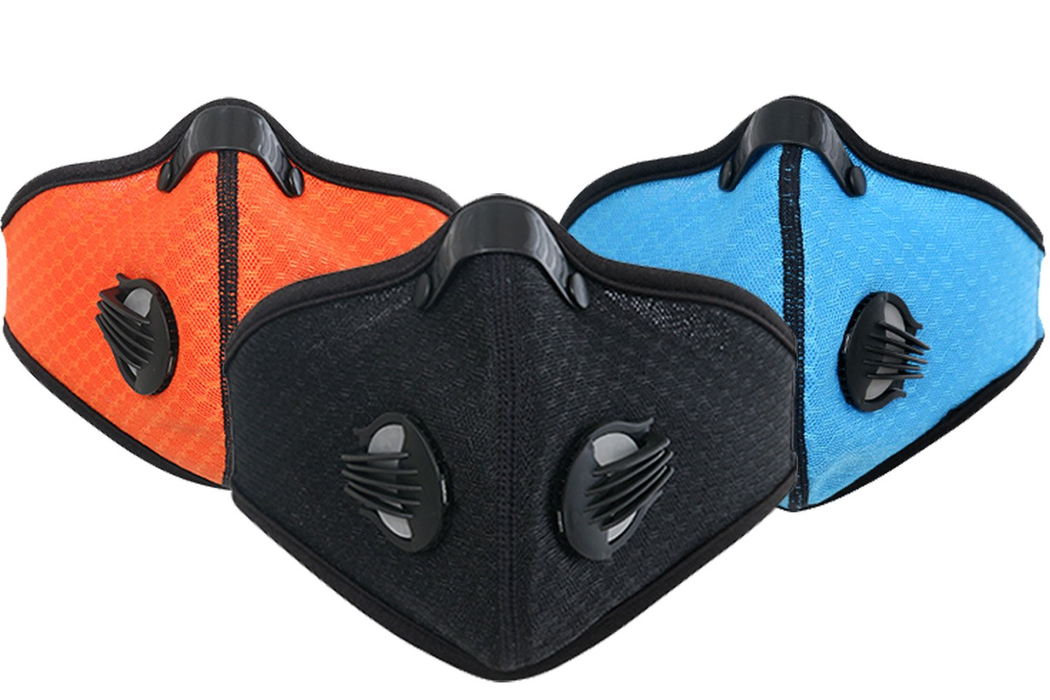 Dustproof Mask - Activated Carbon Dust Masks - with Extra Filter Cotton Sheet and Valves for Exhaust Gas, Anti Pollen Allergy, PM2.5, Running, Cycling, Outdoor Activities (2 Pack Black+Black, Type 1) by Infityle (Image #2)