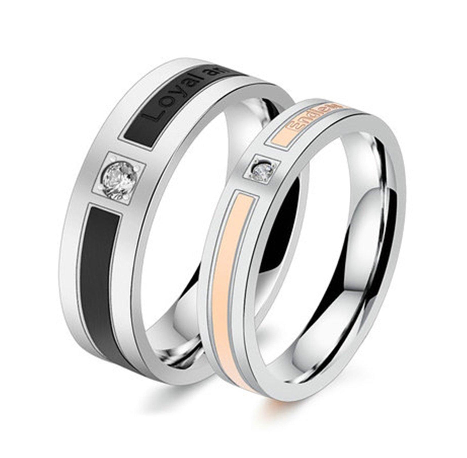 Beydodo 1PCS Stainless Steel Ring 8 Cubic Zirconia 6MM Width Wedding Rings Mens Love Ring Band by Beydodo