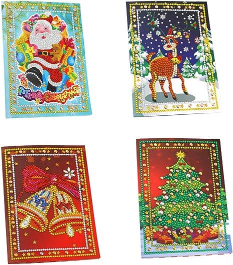4Pcs//Set 5D DIY Diamond Greeting Cards Christmas Birthday Diamond Painting Kit
