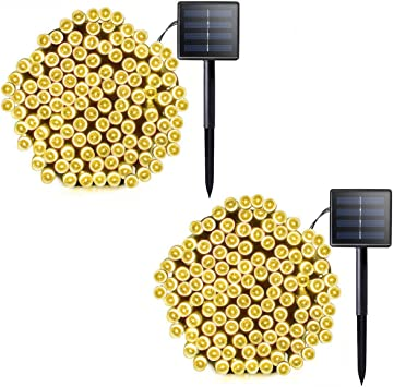 New in box set of 2 Solar Copper Fairy String 200 LED Lights Warm Off White 72ft