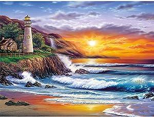 DIY Lighthouse DiamondPaintingKit - Landscape DiamondPaintingKitsforAdults and Kids Beach Diamond Painting Arts for Room Decor Home Wall Decor Sunrise Gift, 1216in
