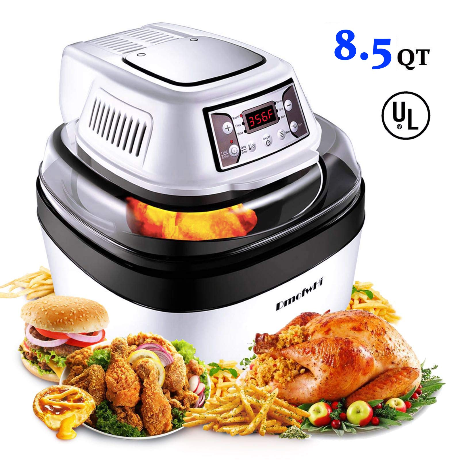 DmofwHi Large Air Fryer Toaster Oven XL/8QT, 1000 Watt Programable Air Fryer with 6 Presets and Rich Accessories 0-60 Mins Timer 122-446 ℉ Fask Cooking | Oilless Health Cooker - White by DmofwHi