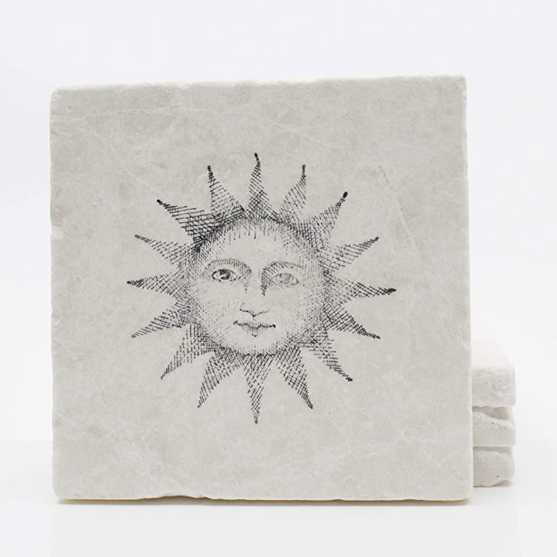 B Set of 4 BOHO Art 2 Handmade Natural Stone Ceramic Tile Drink Coasters
