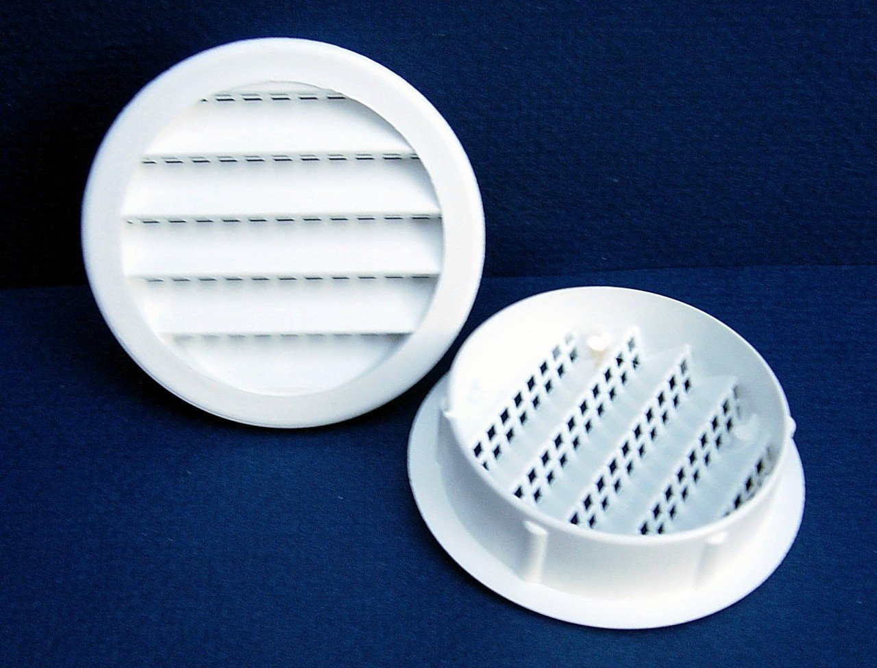 Maurice Franklin Louver-2'' Round White Polypropylene Plastic Louver with Insect Screen System, 6 Count per Pack, Sold as 3 Pack, 18 Count Total. #2'' PLW-100 by Maurice Franklin Louver