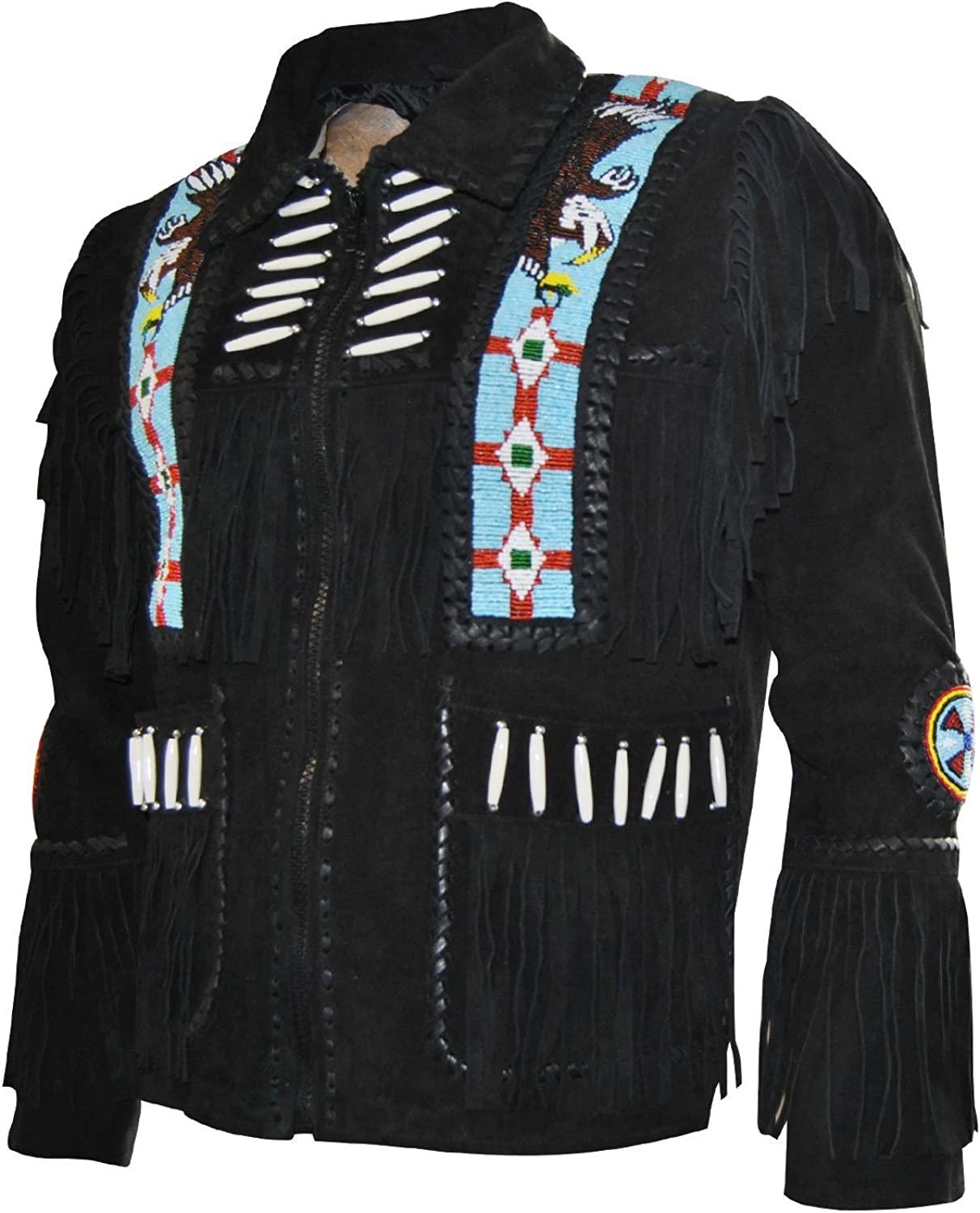 Bone and Beads Handmade Fitters Men Classic Western Cowboy Jacket with Fringe