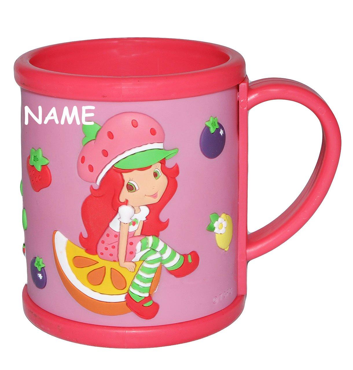 alles-meine.de GmbH Tasse mit Henkel - 3-D Relief - Emily Erdbeer Incl. Namen - Kunststoff / Plastik - Kindertasse Becher Plastiktasse Tassen - Mädchen Erdbeere Frucht Puppe - für Kinder