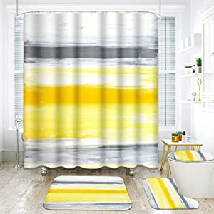 ArtSocket 4 Pcs Shower Curtain Set Grey Yellow Abstract Painting Ink Watercolor Retro with Non-Slip Rugs Toilet Lid Cover and Bath Mat Bathroom Decor Set 72