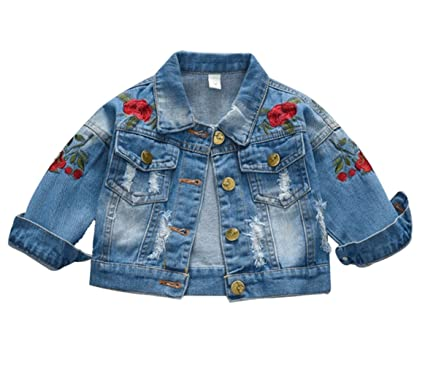 ae9b28bed Amazon.com: Kids Baby Girls Floral Embroidered Denim Jacket Casual Baseball Jeans  Coats Outwear: Clothing