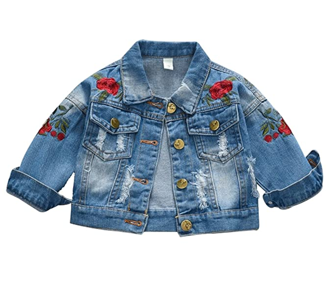 Amazon Com Lukycild Baby Girl S Rose Flower Embroidery Denim Jacket